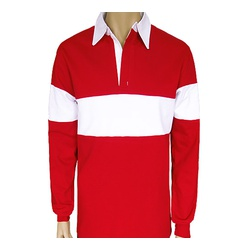 Mens Long Sleeve Fleece Rugby Polo