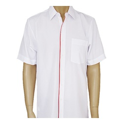 Mens White Red Short Sleeve Oxford Shirts