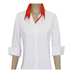 Ladies Hwt Three-Quarter Sleeve Oxford Blouses