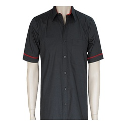 Mens Black Red Tetra Cotton Short Sleeve Shirts