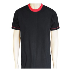 Contrast Neck Rib Black T Shirts