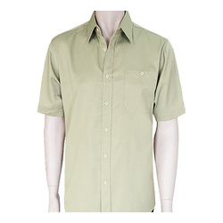 Mens Khaki Short Sleeve Cotton Shirts