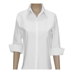 Ladies Three Quarter Sleeve Oxford Blouses